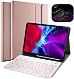 N/B Teclado iPad 10.2, Teclado Inalámbrico Bluetooth con 7 Retroiluminados Colores Funda Tablet con Teclado for 2019 iPad Apple 7th Gen A2200 A2198 A2197