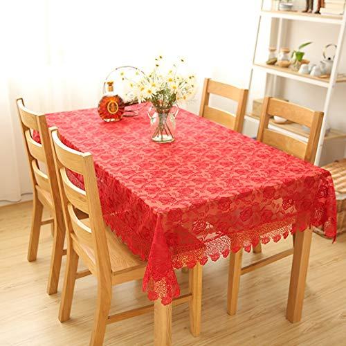 Nappes en Dentelle Rouge élégant Motifs Floraux carré Rectangle Table Cover pour la décoration intérieure, fêtes d'anniversaire, réceptions de Mariage, Tables de Salle à Manger (Taille : 130 * 130cm)