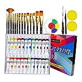 Kit de 24 Pinturas Acrilicas, ZITFRI Pinturas Acrílicas 24 Colores x 12ml con 15 Pinceles Profesionales y Más Accesorio para Pintura Acrilica Manualidades, Pinturas Para Lienzo Papel Madera Ceramica