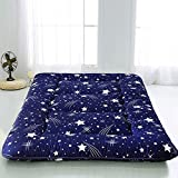 MAXYOYO Navy Starry Sky Japanese Floor Futon Mattress, Tatami Floor Mat Portable Camping Mattress Kids Sleeping Pad Foldable Roll Up Floor Lounger Couch Bed Twin Size with Mattress Protector Cover