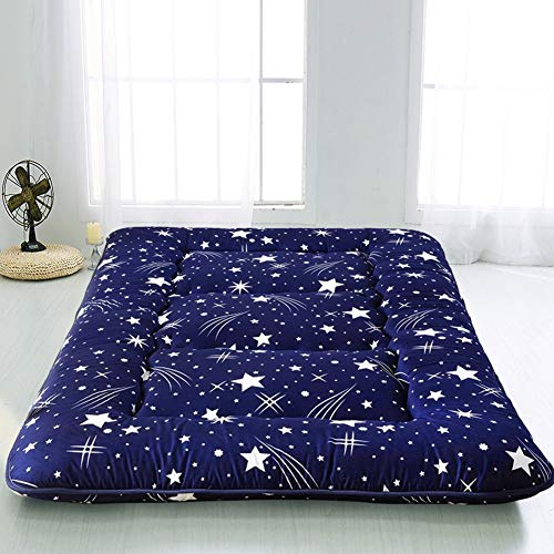 Navy Starry Sky Japanese Floor Futon Mattress, Tatami Floor Mat Portable Camping Mattress Kids Sleeping Pad Foldable Roll Up Floor Lounger Couch Bed Twin Size with Mattress Protector Cover