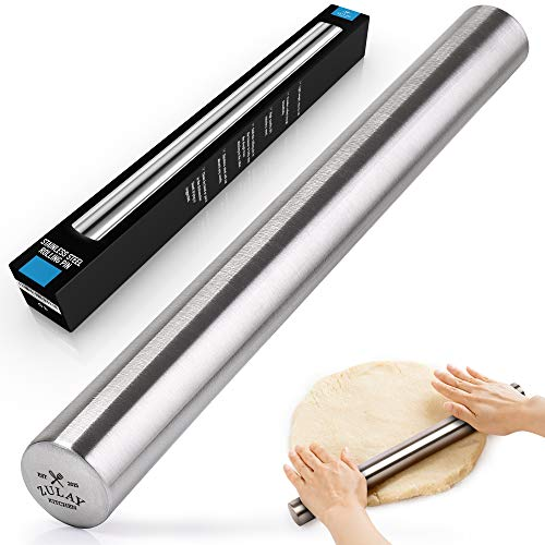 Zulay Professional French Rolling Pin for Baking (16 inch), Top-Grade Stainless Steel, Light Weight, Easy to Roll Design | Metal Rolling Pin & Fondant Rolling Pin for Pie Crust, Cookie, Pizza Dough