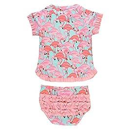 RuffleButts Baby/Toddler Girls UPF 50+ 2-Piece Short Sleeve Rash Guard...
