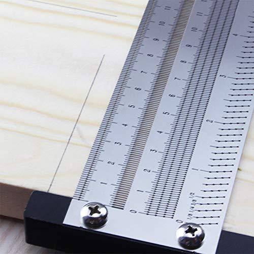 Kecheer - Regla métrica de precisión de 400 mm de perforación tipo T para trabajos de madera, garabonos, marcar sin óxido, herramienta de medición de carpintero con portaminas