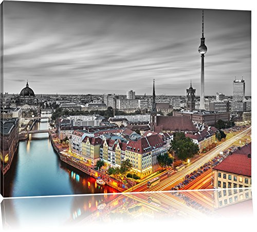 Pixxprint Berlin City Panorama als Leinwandbild | Größe: 120x80 | Wandbild| Kunstdruck | fertig bespannt
