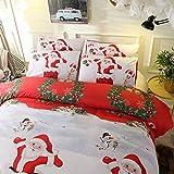 HOHH - Juego de 3 fundas de edredón para cama de matrimonio (3D, 3D, Papá Noel), diseño de Papá Noel, cierre de cremallera, 200 x 200 cm), color azul y blanco (XY, D), Navidad - 2, doble 200 x 200