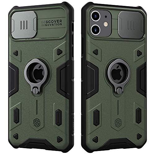 Nillkin CamShield Armor Hülle für iPhone 11 Hülle mit Schiebekameraabdeckung, PC und TPU Silikon Cover stoßfeste Stoßstangen Schutzhülle mit Ringständer für iPhone 11 Case (Grün)
