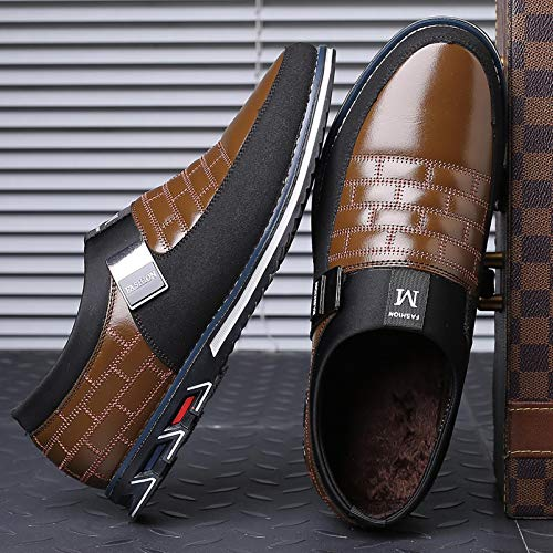 COSIDRAM Men Casual Shoes Summer Sneakers Loafers Breathable Comfort Walking Shoes Fashion Driving Shoes Luxury Black Brown Leather Shoes for Male Business Work Office Dress Outdoor Fur Brown 6