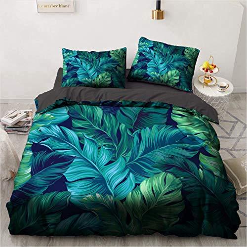 NEWAT Parure de lit bohème avec housse de couette et taies d'oreiller, motif forêt tropicale, feuilles de palmier vertes, oiseaux et fleurs, pour filles,...