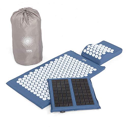 Acupressuurset Vital Deluxe Spiky: acupressuurmat (77 x 44 cm), kussen en voetmat in voordelige set, vitaliserend voor de rug en nek, weldadige ontspanningsmat nachtblauw