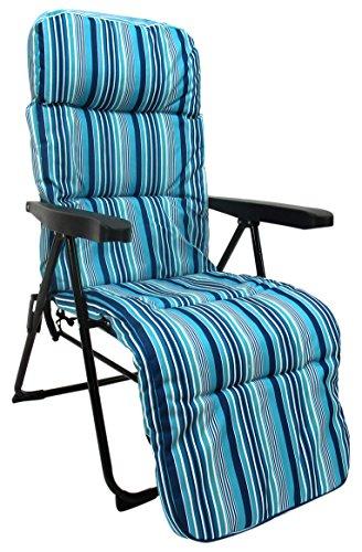 JUINSA 8148600 Tumbona Acolchada Plegable, Azul, 106x61x58 cm