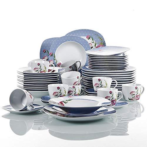 VEWEET série 'Hannah', Service de Table en Porcelaine de 60 pièces, Service de Table pour 12 Personnes, Service de café