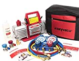 Kozyvacu AUTO AC Repair Complete Tool Kit with 1-Stage 3.5 CFM Vacuum Pump, Manifold Gauge Set,...