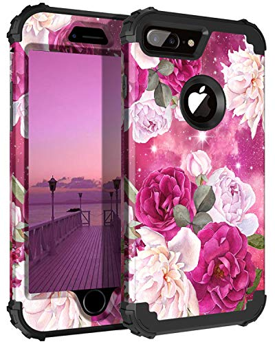 Casetego for iPhone 8 Plus Case,iPhone 7 Plus Case,Floral Three Layer Heavy Duty Hybrid Sturdy Shockproof Protective Cover Case for Apple iPhone 8 Plus/7 Plus,Rose Red/Black