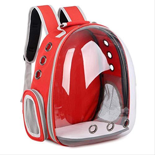 HJKM Draagbare Huisdier/kat/hond/puppy Rugzak Carrier Bubble, Nieuwe Ruimte Capsule Ontwerp 360 Graden Bezienswaardigheden Konijn Rugzak Handtas Transparant Reistas, Veilig & Ademend (rood)