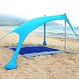 Tenda da Spiaggia Tenda da Spiaggia Portatile Plus Tenda da Spiaggia con Ancoraggio per Sacchi di Sabbia, Hyper Protezione UV Funzione Campeggio Ombrellone Tenda Ombrellone Tendalino,Blu