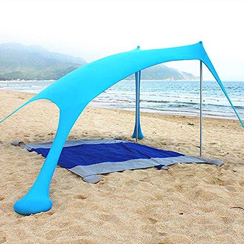 KLFD Tenda da Spiaggia Tenda da Spiaggia Portatile Plus Tenda da Spiaggia con Ancoraggio per Sacchi di Sabbia, Hyper Protezione UV Funzione Campeggio Ombrellone Tenda Ombrellone Tendalino,Blu