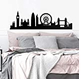 """Vinyl Wall Art Decal - London Skyline - 20"""" x 66.5"""" - Unique Modern England British Europe UK City Home Bedroom Living Room Store Shop Mural Indoor Outdoor Silhouette Adhesive Decor"""