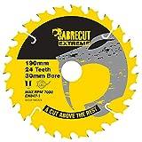 SabreCut SCCSF190CR24 - 1 Lama per sega circolare con foro per Dewalt Makita Milwaukee e molti altri, 190 mm 24T x 30 mm