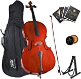 Mendini By Cecilio Cello - Musical Instrument For Kids & Adults - Cellos Kit w/Bow, Stand, Bag - Stringed Music Instruments For Students (3/4-Size, Natural)
