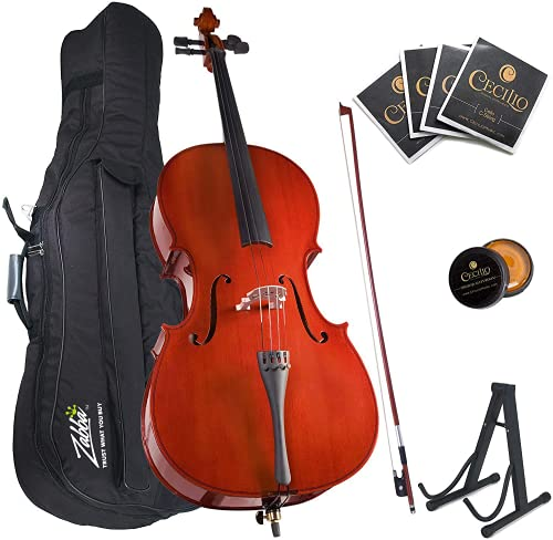 Mendini By Cecilio Cello - Musical Instrument For Kids & Adults - Cellos Kit w/Bow, Stand, Bag - Stringed Music Instruments For Students (Full Size, Natural)