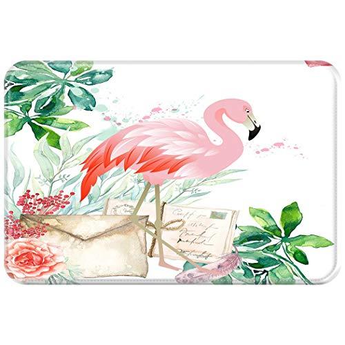 Eastery Paillasson Tapis De Sol Intérieur De La Maison Extérieur Tapis Simple Style De Saleté Magnifiquement Rose Aquarelle Flamingo Peinture 50 X 80 Cm (Color : Colour, Size : 40X60Cm)