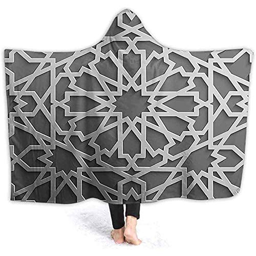 DJNGN 60X50 Inch Hooded Blanket, Historic Moroccan Heraldic Empire Interlace Form with Mix of Star Flowers Grey Soft Wele Throw Blanket Ho