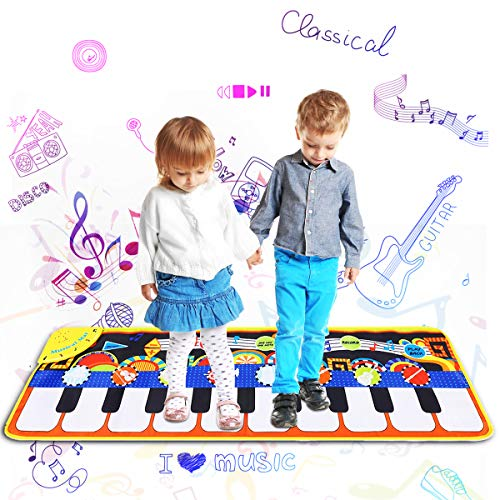 Bowink Kids Musical Mat, Piano Music Keyboard Dance Mat 8 Instrument Sounds with 5 Play Mode Piano mat for Boys Girls,Dance and Learn Mate 43.3 x 14.2 inch