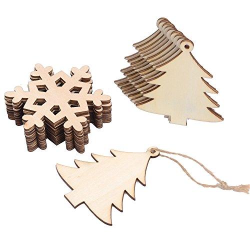 Sumind 20 Pezzi Abbellimenti a Forma dell'Albero di Natale in Legno ed di Fiocco di Neve da Appendere Decorazione Ornamenti con 20 Pezzi Spaghi