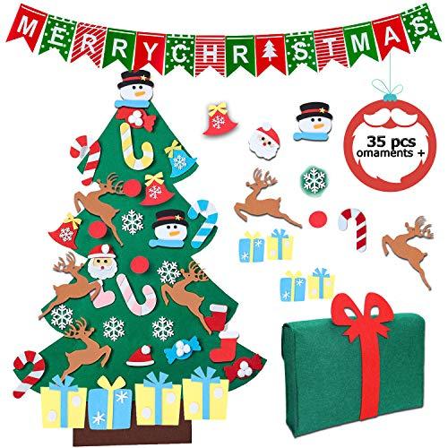 SUPTEMPO Feltro Albero Natale, 3.2ft Albero di Natale in Feltro per Bambini con 35 Pezzi Ornamenti Staccabili Regali di Natale Decorazioni Natalizie per pareti e Porte