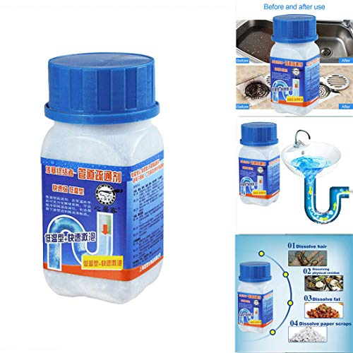 Powerful Drain Cleaners Home Kitchen Pipe Dredging Agent Sewer Pipes Deodorant Strong Pipeline Dredge Agent Toilet Powerful Cleaning Tool for Kitchen Toilet Pipeline Dredging Quick Cleaning (Blue)