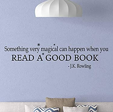 J K Rowling Quotes Wall Vinyl Decal Something Very Magical Can Happen When You Read A Good Book Library Sign Gift Poster Quote Education Wall Art Study Wall Decor Sticker School Sticker Print 900
