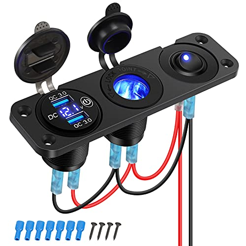 Thlevel Cargador USB Coche Panel de Enchufes 12V   24V 36W con QC 3.0 Doble Cargador USB y Voltímetro Digital LED y Encendedor de Cigarrillos y LED Azul Interruptor, para Coche, Marina, Barco, Camión