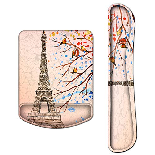 icolor Keyboard Wrist Rest and Mouse Wrist Rest Pad Support Set,Ergonomic Memory Foam for Computer Laptop Typist Gaming Office Relieve Wrist Pain (Pink Eiffel Tower, Art printing)
