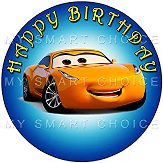 7.5 Inch Edible Cake Toppers –DISNEY CARS CRUZ RAMIREZ BLUE Themed Birthday Party Collection of Edible Cake Decorations