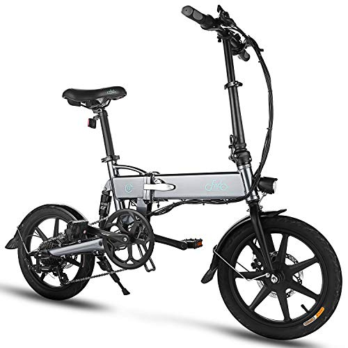 FIIDO D2S Folding EBike, 250W Aluminum Electric Bicycle with Pedal for Adults and Teens, 16' Electric Bike 15Mph with 36V/7.8AH Lithium-Ion Battery, Professional Quick-Shift Shimano 6-Speed, Gray