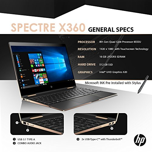 "HP Spectre x360 13t Touch Laptop i7-8550U Quad Core,16GB RAM,512GB SSD,13.3"" IPS FHD Touch, Gorilla Glass, Win 10 Pro Pre-Installed by HP, Dark Ash Silver, 3 YRS McAfee Internet Security Antivirus Maine"
