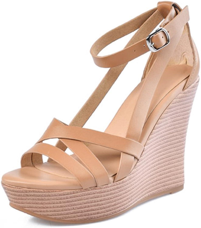 Damenschuhe Sandalen Rindsleder High Heel Plattform Slope & & & Cross Lacing Damenschuhe 12cm (Farbe   braun, Größe   33)  eb2b72