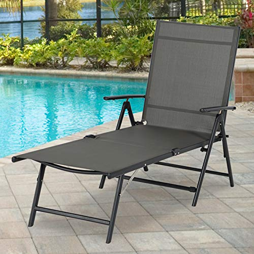 Esright Outdoor Chaise Lounge Chair, Folding Textilene Reclining Lounge Chair for Beach Yard Pool Patio with 7 Back & 2 Leg Adjustable Positions, Gray