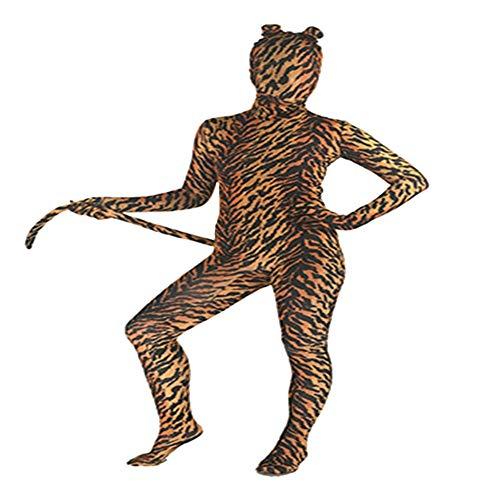 SK Studio Niño Disfraz de Segunda Piel Disfraces de Halloween Cosplay Tigre Animal Disfraz con Mono Licra Elástico Tigre Kids XS