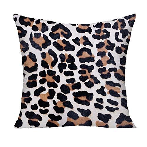 N\A Funda de cojín Decorativa Cuadrada de poliéster con Estampado de Leopardo, diseño de decoración del hogar