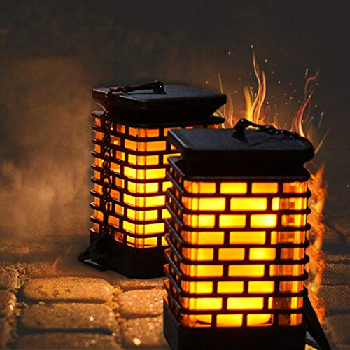 EOYIZW Solar Lantern Lights Outdoor Flame Decor- Premium 99 LEDs Dancing Flame Flickering Solar Garden Ornaments Hanging Lantern- Waterproof LED Solar Deck Landscape Lighting for Patio Yard - 2 Pack