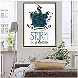 cuadros decoracion salon Arte de personajes Pintura en lienzo Póster impreso digital Tormenta en una taza de té Decoración para el hogar Arte de la pared para la decoración de la sala de estar Regalo
