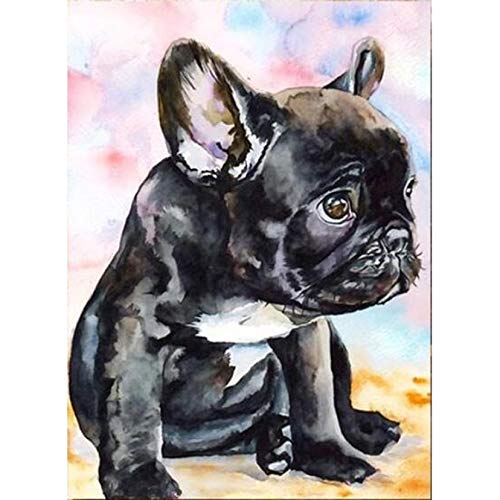Full Diamond Painting French Bulldog DIY Round Diamond Embroidery Cartoon Picture Mosaic Decoration for Home Hobby Gift-30X40Cm