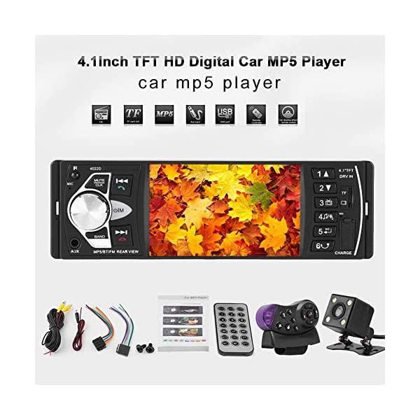 """Bluetooth Car Stereo Radio with 4.1"""" Touchscreen & Rear View Camera, Car MP5 Player Radio Universal HD Touch Screen Universal Multimedia Player, Steering Wheel Control, Rear View Camera 3"""