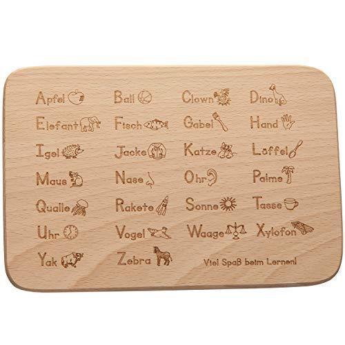 Spruchreif PREMIUM QUALITÄT 100% EMOTIONAL · Frühstücksbrett aus Holz mit Gravur · ABC und 1x1 Brotbrett für Kinder zum Lernen Geschenk zum Schulanfang oder Schultüte für Mädchen und Jungen