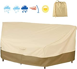BullStar Curved Sectional Patio Sofa Cover Waterproof Outdoor Sectional Sofa Covers 420D Heavy Duty Furniture Protector Weather-Resistant