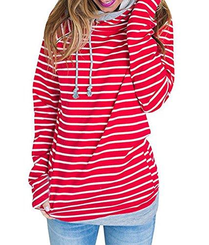 Asskdan Damen Gestreift Pulli Sweatshirts Hoodie Sport Langarm Reißverschluss Pullover Outerwear (EU 40/L, 1 Rot)