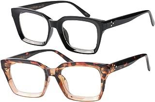 SOOLALA Retro Desinger 47mm Large Lens Square Reading Glass Big Eyeglass Frames