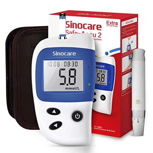 sinocare Diabetes Test Kit, Blood Glucose Monitor, Safe Accu2 Blood Sugar Testing Kit with Codefree Strips x 10 in mmol/L